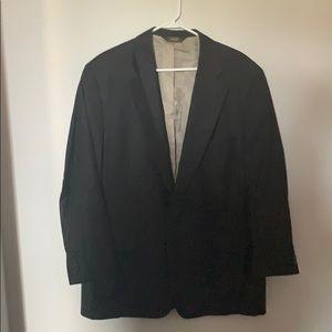 Men's Paul Stuart black pinstripe suit coat 45R